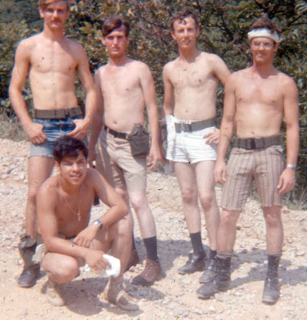 Billy Strickland, Richard Sapp, Dennis Siefker and two other soldiers on a fun hike in the hills in Korea 1973-1974.