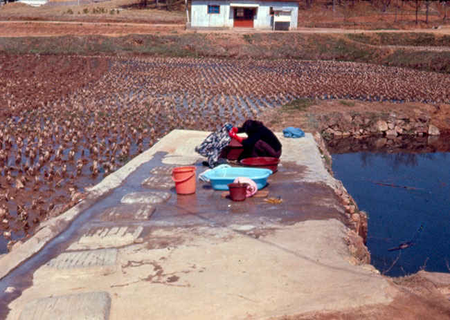 Korean laundromat 1973-1974. The Koreans did their laundry in the countryside on cement perforated slabs.