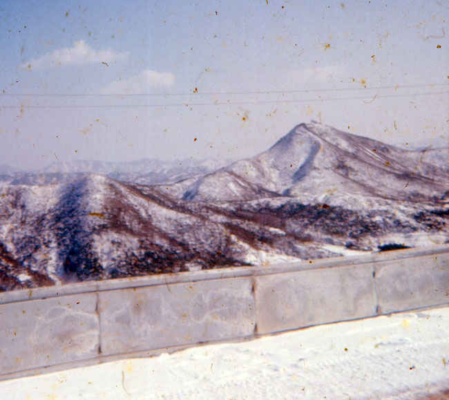 Korea in winter 1973-1974. View of the countryside from radar hill..