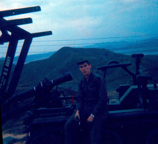 Korea  1973-1974 Dennis sitting on  a Hawk Missile Transporter.