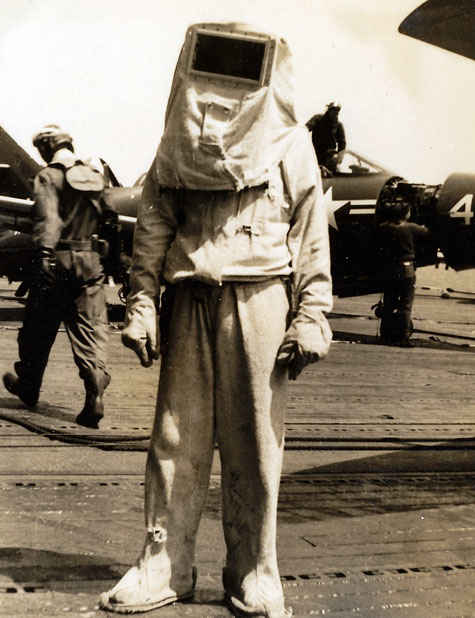 Firefighter suit on the Aircraft carrier USS Boxer 1950's.