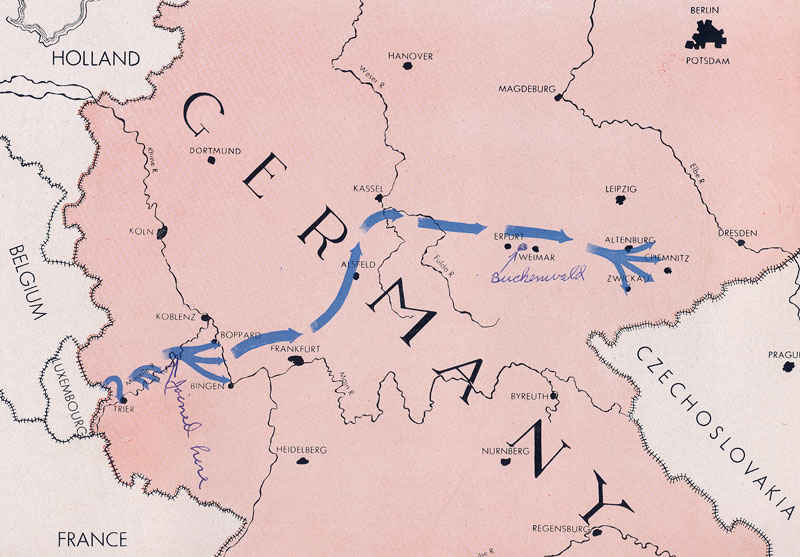 76th Infantry's path through Germany. My grandfather joined near Bingen and Boppard. The concentration camp is marked on the map in pen.