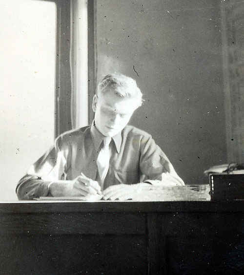 My grandfather at his desk in the Personnel Office, Lemans, France.