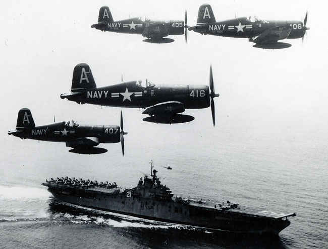 Corsair formation above the Boxer.