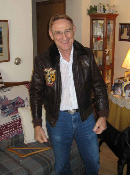 Gene wearing his pilot's jacket from the USS Boxer (CV-21). It still fits, well almost.