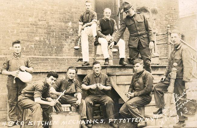 Edward is second to the right. This is a picture of 4th company kitchen mechanics Ft. Totten, New York.