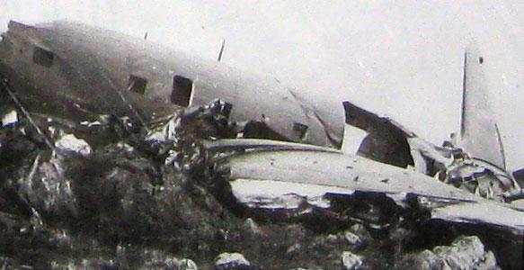 Plane wreckage in the mountains. More planes were lost due to weather than were shot down by Zero's.