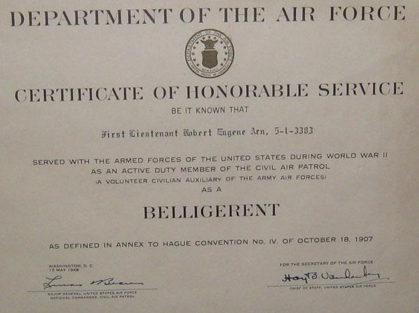 Honorable service with the civil air patrol during World War 2.