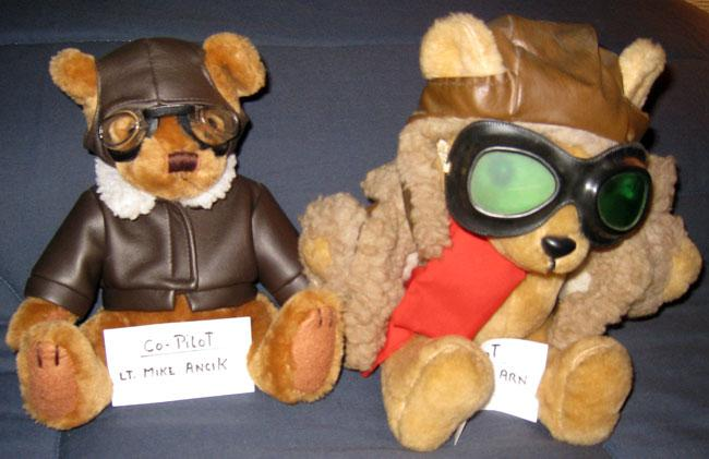 These are the bears MIke Ancik gave to Robert during a visit. When Robert's long time co-pilot because very ill MIke took his spot as co-pilot.