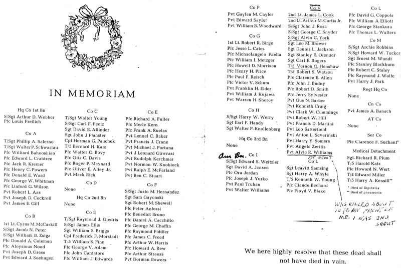 Heroes lost from the 385th Regiment.