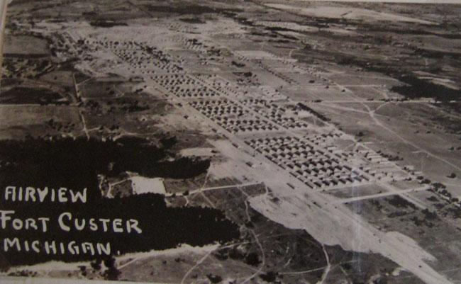 Air view of Fort Custer, Michigan were Robert went through OCS and MP post duty.