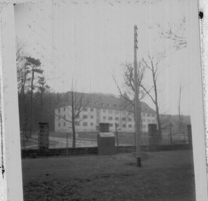 Barrack Dad called home.  Cambrai Fritsch, Darmstadt.  1st ID HQ. Photo between his arrival in September 1951 and the move to Wuerzburg, September 1952.
