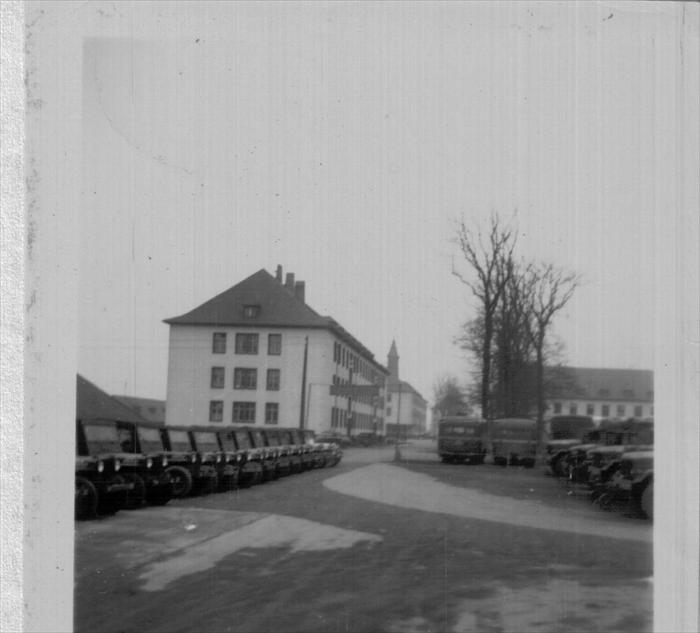 Cambrai Fritsch Kaserne. 1951-1952, Darmstadt, Germany. 1st Inf. Div. Hq. Clock tower and motor pool.