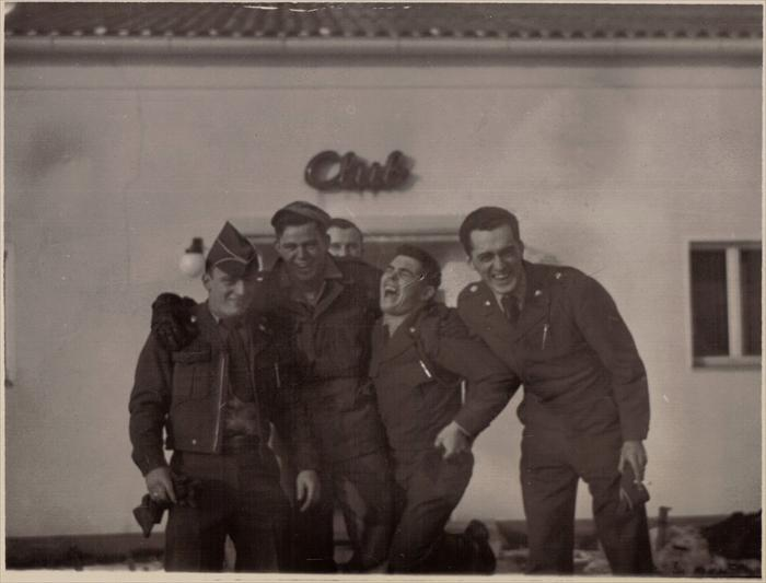 John Tubinis, PFC 1st ID Hq Co, right.  Two buddies in the center seen in separate furlough photos.
