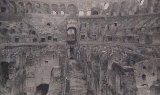 Roman Colosseum in 1945. When Robert took the prisoners back to Italy he was able to stop and see the sites.