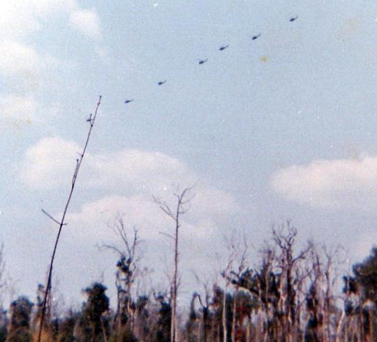 Combat air patrol of Huey's.
