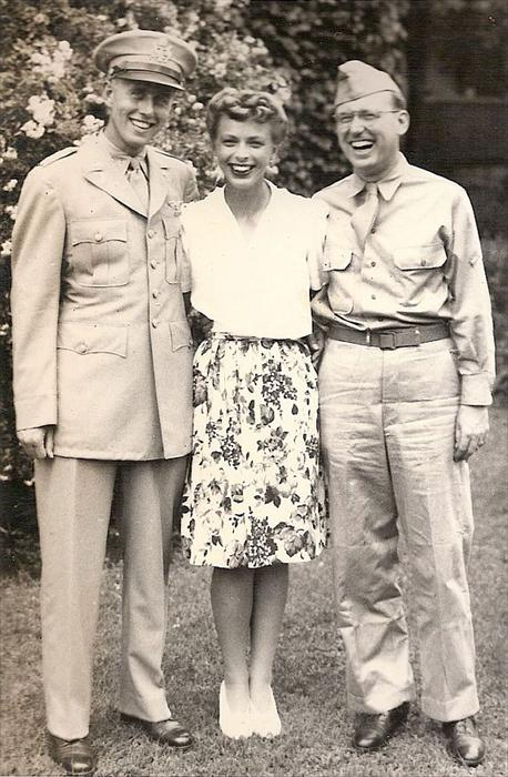 Lt Herron and his lovely bride Jo Townsend with Don's brother Keith Herron during WWII.  From Ohio and a Hump Pilot, Don passed away in 1998 at 80 years old; Keith died in 1977.  Jo is alive today at 94!