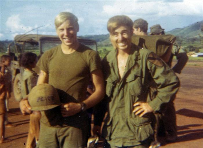 Left Gary Sengstock (KIA) and Frank Thurston in Vietnam 1970.