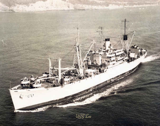 USS Leo first assignment in World War II was for the assault on Iwo Jima with Amphibious TF 51. After the assualt she evacuated casualties.