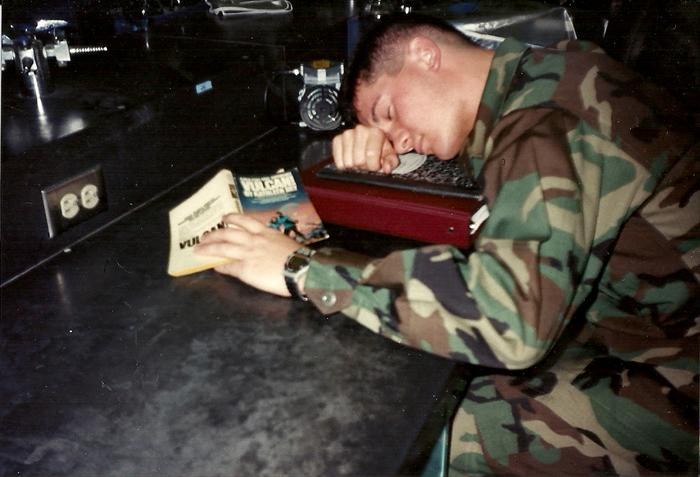 Someone took this picture of me in lab tech class at AMEDD Center and School, Fort Sam Houston 1996. I have yet to finish that book!