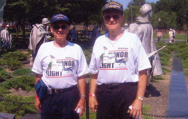 Fred on the left on the Honor Flight. The mission of the Honor Flight is to fly all WWII veterans to the World War II memorial for free.