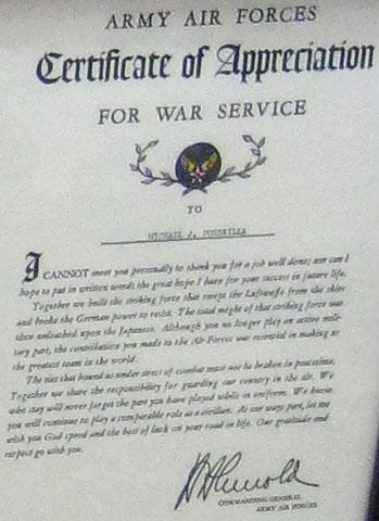 Army Air Forces service certificate.