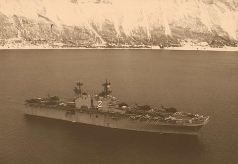 The USS Saipan in Fjords of Norway (Garys first cruise)
