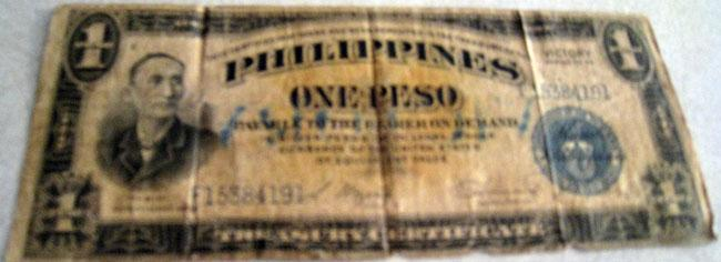 Philippine one peso from World War II.