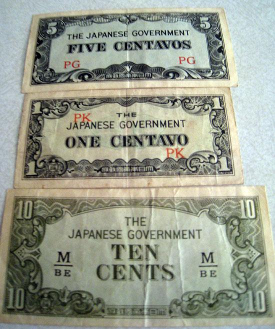 Japanese Government Centavos currency.