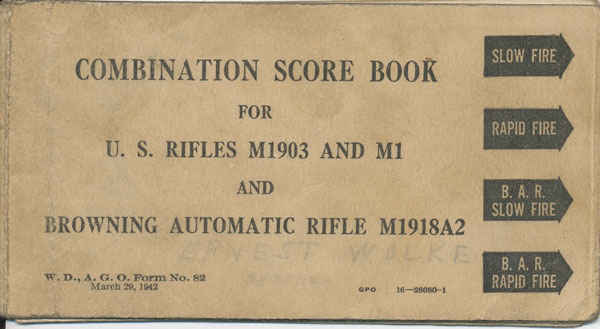 Official combination scorebook used during basic training. Inside the book has my grandfather's target results of where he shot in basic training for qualifying. My grandfather said he missed on purpose so that he did not become a sniper.