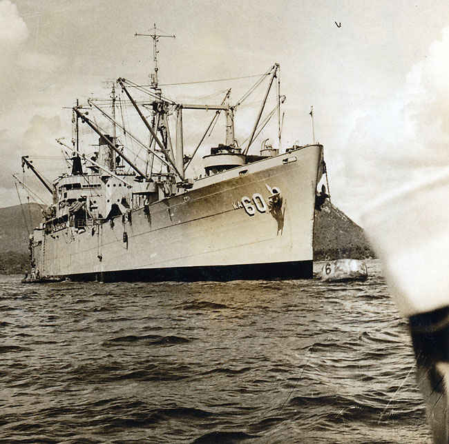 This is a picture coming back from shore to board the Leo. USS Leo received five battle stars for service in Korean War and two battle stars in World War II.