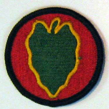 24th Infantry Division patch. When Carl was sent into action in the Korean War he was assigned to the 24th. The 24th Infantry was the first fight in the Korean War and first to serve under the United Nations.
