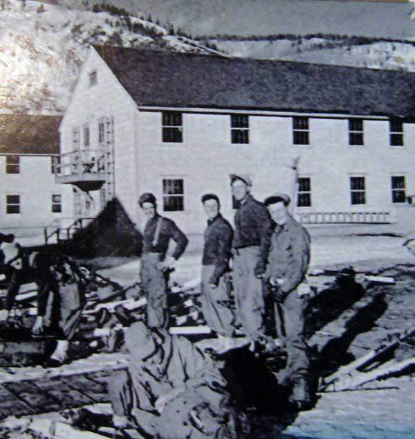 Camp Hale, Colorado training for the 10th Mountain Division in World War 2. The division was trained in skiing, climbing, and cold weather survival.