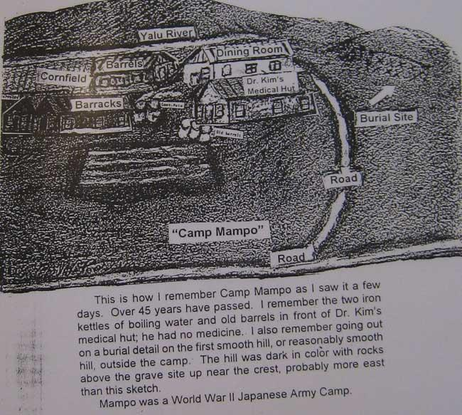 Drawing Carl made of Camp Mampo. One can see the burial site where Carl has to help bury 400 of his fellow soldiers who were killed or died as the hands of the North Koreans.