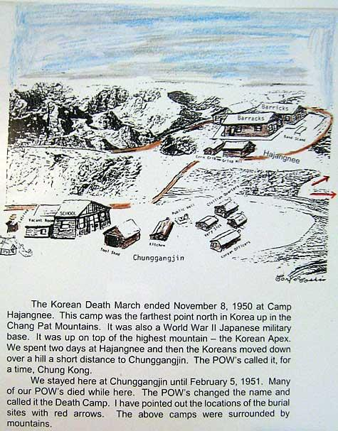 Chunggangjin and Hanjangnee North Korean Death Camps which Carl stayed as a POW.