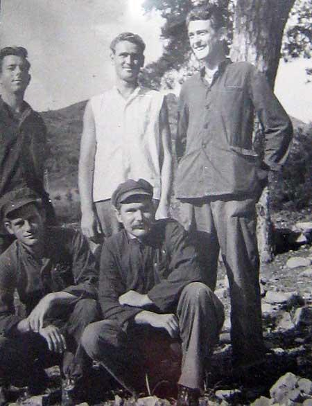 Freedom photo of Carl Cossin front right after being released in Inchon, South Korea.