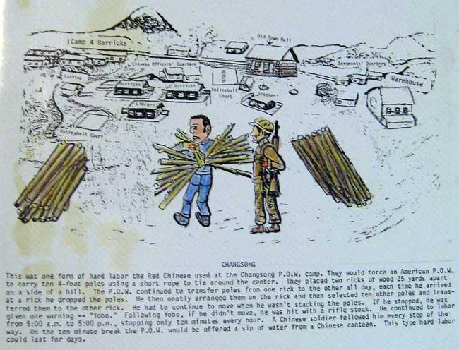 Hard labor the Chinese used at the Changsong POW Camp. American POW's had to carry 4 foot poles back and forth from one pile and back again for 12hrs a day.