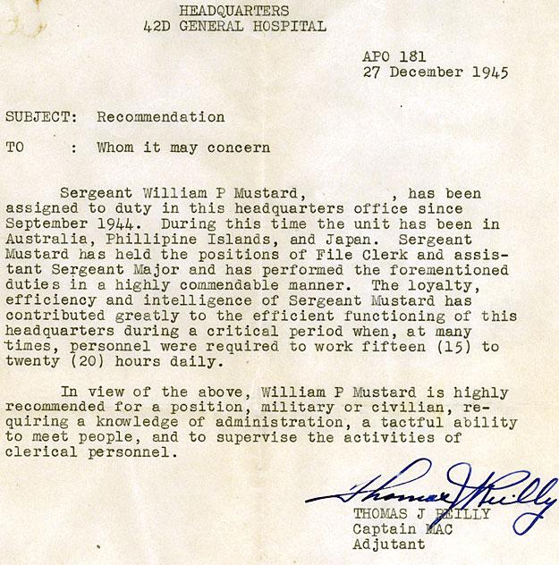 W. Paul Mustard letter of recommendation.