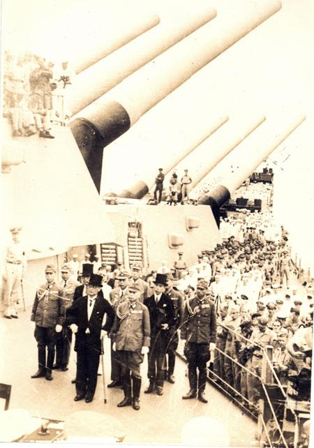 September 2, 1945 Japanese formally surrender on the battleship USS Missouri, anchored in Tokyo Bay