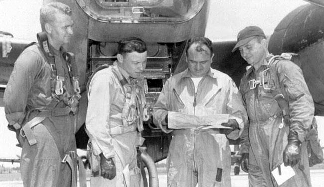 Combat crew training, Shaw AFB, SC, 1952.  L/R David (nav); Morris Briggs (nav); instructor pilot (?); Paul (pilot)