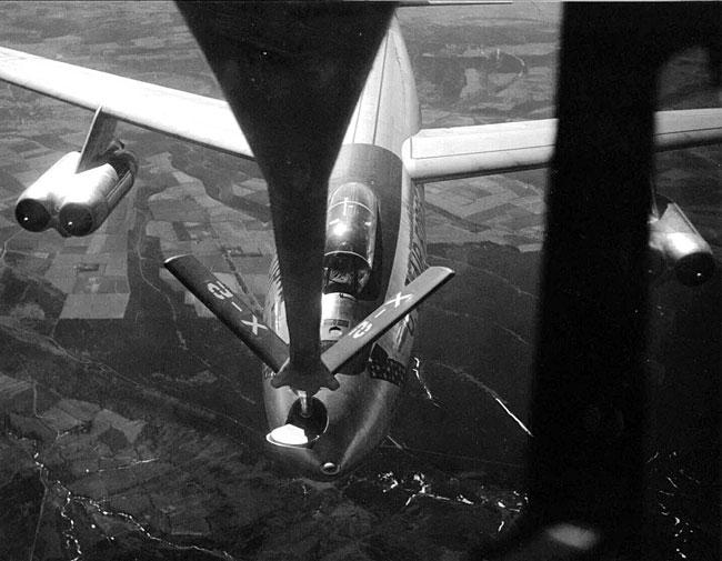"B-47 taking on fuel from a KC-97 tanker of England in 1955.  Filmed by CBS for Edward R. Morrow's TV program, ""See it Now"""