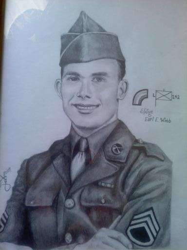 I drew this picture of my grandfather in his uniform