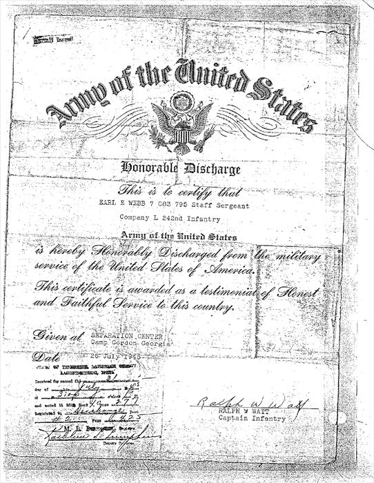 Certificate of discharge from the US Army for Earl Webb