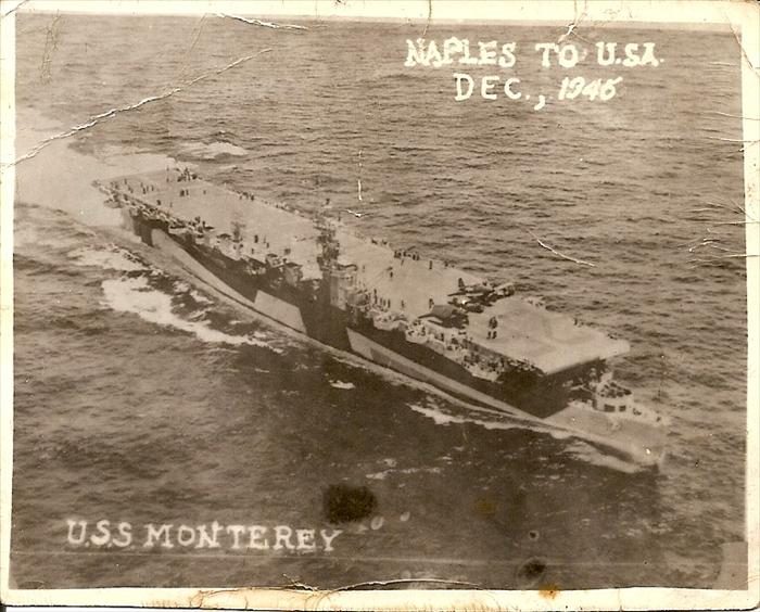 The USS Monterey., Naples, Italy to U.S., Dec. 1945.