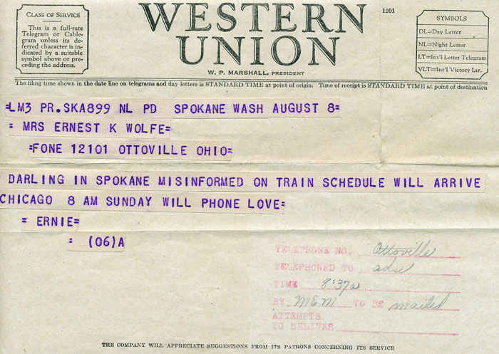 Imagine a time before email, phones, or computers. Western Union was the way to communicate and this is was state of the art during its day. This a message my grandfather sent to my grandmother.