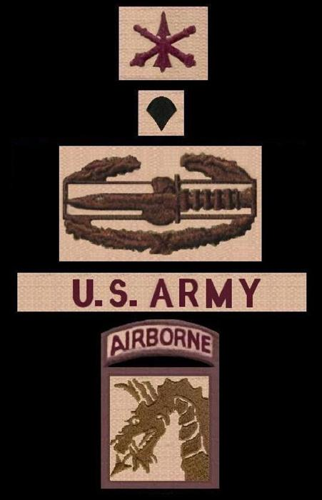 Desert subdued patches & insignia from top-to-bottom: Officer ADA branch sew-on, Specialist collar rank, Combat Action Badge, U.S. Army nametape, and my Shoulder Sleeve Insignia-Former Wartime Service (SSI-FWTS)-18th Airborne 'Dragon' Corps Patch.