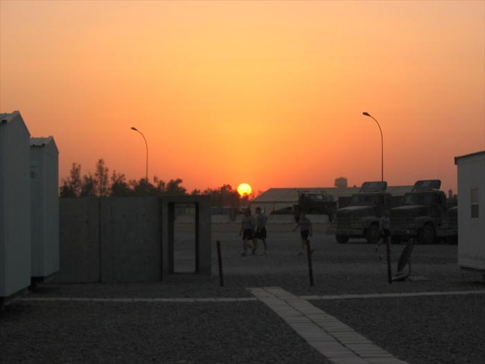 A lovely Iraqi sunset over our living area.  Love the accommodations!
