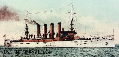 Assigned to the USS Pittsburgh in 1914.