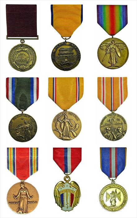 Chief Morris' Medals. Top Row from Left to Right: Navy Good Conduct Medal (WWII era), China Relief Expeditionary Medal (Navy), & World War I Victory Medal. Middle Row: Cuban Pacification Medal (1908), American Defense Service Medal, & the Asiatic Pacific Campaign Medal.  Bottom Row: World War II Victory Medal, Philippine Liberation Medal, & Philippine Independence Medal.  