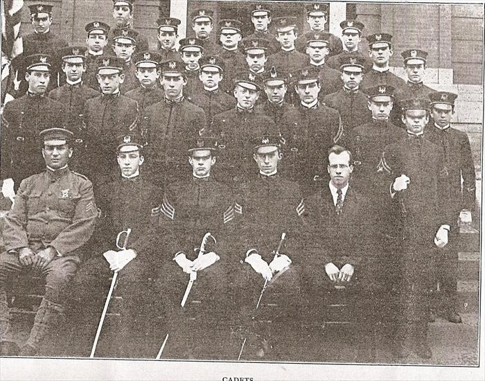 Charles as a cadet at Leavenworth High School. He is in the first row, second from the left.